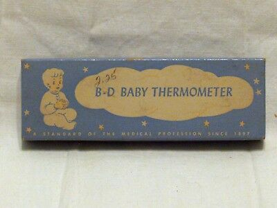 Vintage B-D BABY FEVER THERMOMETER & CASE w/ Box Glass Becton Dickinson
