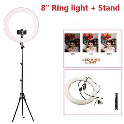 8inch Ring Light LED Photography Dimmable Photo Studio Makeup Phone Video + Trip