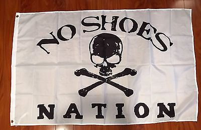 No Shoes Nation 3'x5' Feet White Flag banner Kenny Chesney Country Music Cowboy