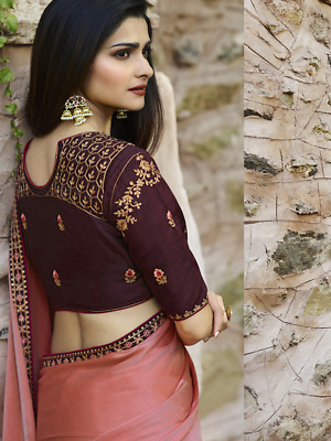 Kashmiri Silk Embroidery India Bollywood Designer Sari Indian Traditional Ethnic