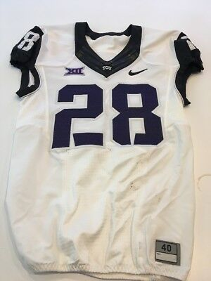 Game Worn Used Nike TCU Horned Frogs Football Jersey  28 Size 40 af5bfc96e
