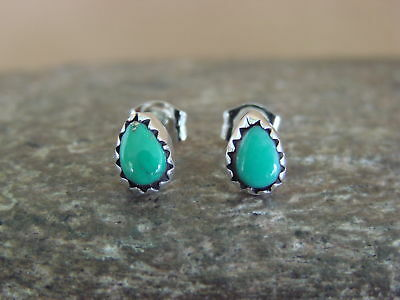 Native American Indian Jewelry Sterling Silver Turquoise Tear Drop Post Earrings