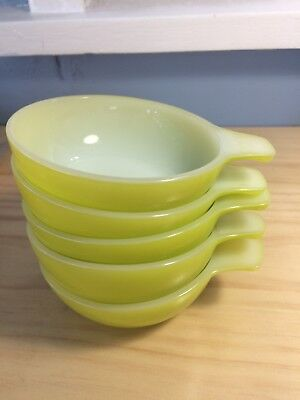 Vintage Pyrex ramekins retro yellow lined white