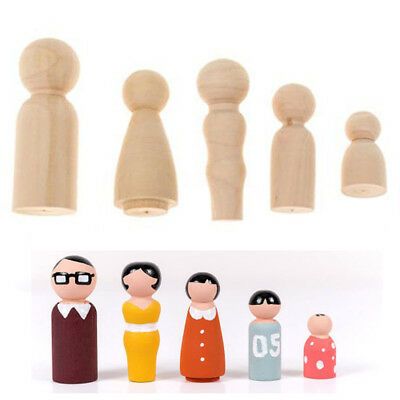 Family of 5 Wood Peg Dolls Wooden Figures Mini People DIY Craft Unpainted Toy