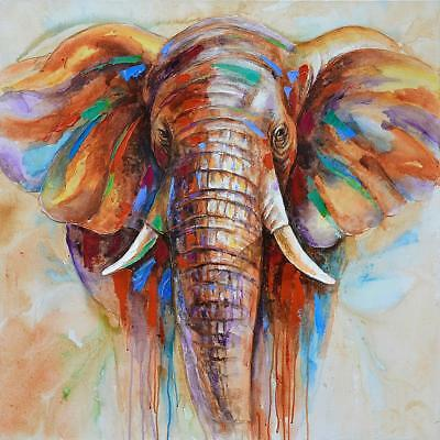 HD Printed Frameless Elephant Head Canvas Painting Wall Art Pictures Decor M0W8