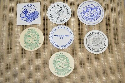 Lot Of 7 Vintage Bar Beer Coasters Nsw Clubs Illawarra  1960's?