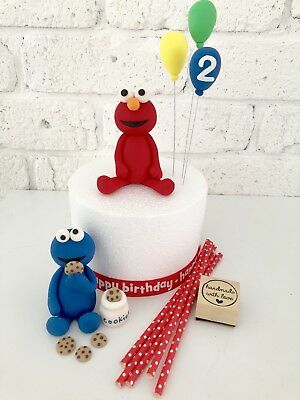 Edible Elmo Cookie Monster Cake Toppers 3 Balloons Theme Birthday