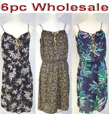 6pc Wholesale Women Ladies Summer Beach Casual Dress Free Size Mixed