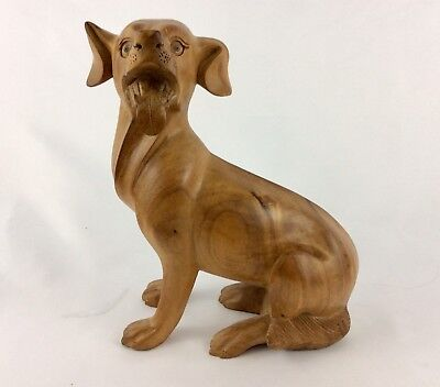 """Dog beautifully Hand Carved From Mahogany Wood With A lot Of Details (10""""T-8""""W )"""