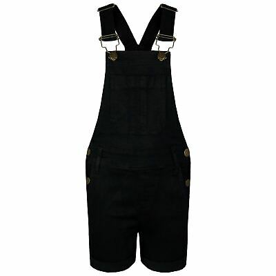 Kids Girls Dungaree Shorts Black Denim Stretch Jumpsuit Playsuits Age 5-13 Years