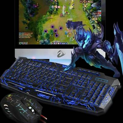 2c22fbcbdcb Ergonomic 3 Color LED Crack Backlight Multimedia Wired USB Gaming Keyboard  Mouse