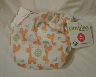 Swaddlebees One Size Simplex All In One Diaper,  Giraffes Size L, 22-38 lbs  NWT