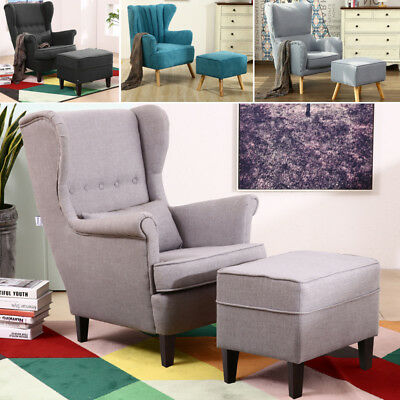 Wing Armchair for Napping Lounge Upholstered Modern Chair Fabric High Back+Stool