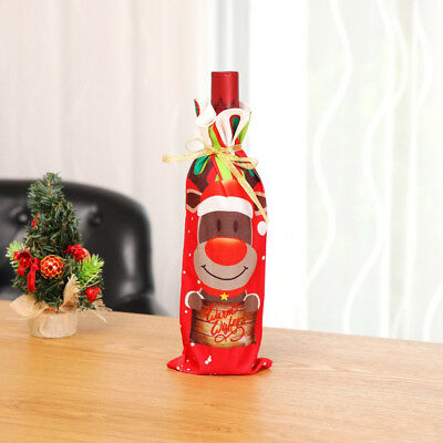 Xmas Wine Bottle Bag Cover Merry Christmas Dinner Santa Claus Home Table Supply