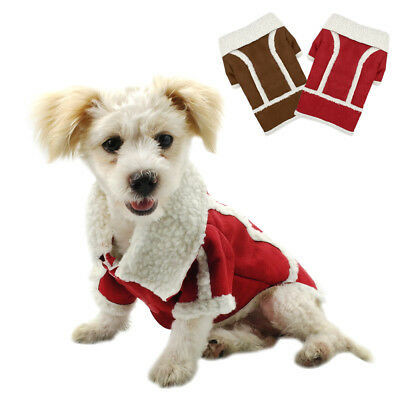 Soft Warm Pet Clothes Sweater Chihuahua Small Dog Coat Jacket Fleece Brown Red