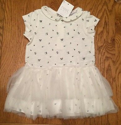 Next Baby Girl Gorgeous Short Sleeve Ecru Ditsy Floral Tunic/dress🌸 0-3 BNWT
