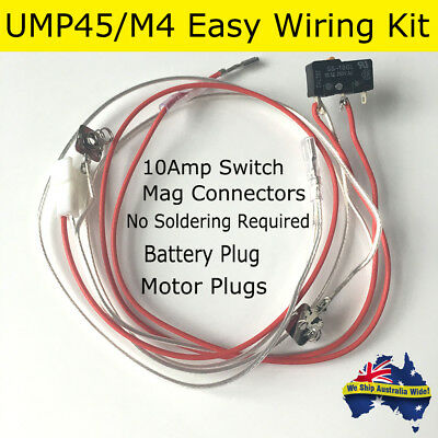 Gel Ball Blaster M4-A1 UMP45 Silver Wire Wires Wiring Kit 10-A AMP OMRON SWITCH