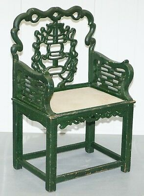 18Th Century Chinese Jade Green Painted Chair With Original Distressed Paint