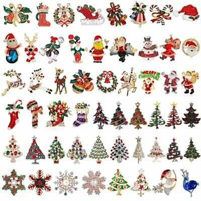 Fashion Red Crystal Christmas Snowman Brooch Pin Collar Womens Jewellery Xmas