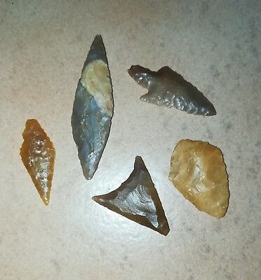 Neolithic Arrowheads x5, High Quality Selection of Styles