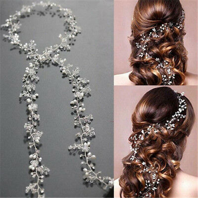 Women Girls Pearl Wedding Hair Vine Crystal Bridal Diamante Hairbands Decor  AU