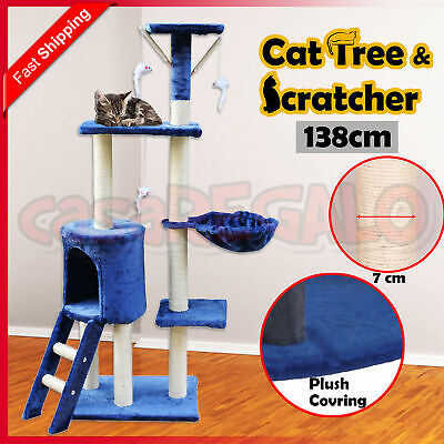 Cat Scratching Tree Post Sisal Pole Condo Toy Furniture Multi level 138cm