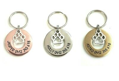 washer paw print star dog ID tag laser engraved 2 sides in brass steel rose gold