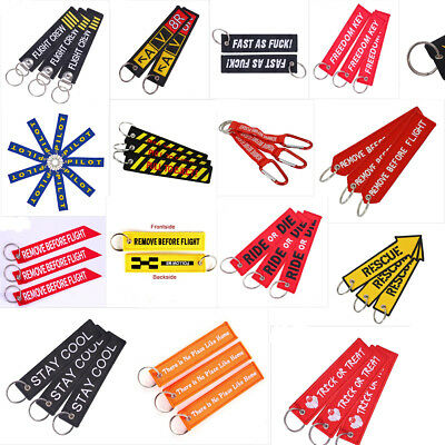 Motorcycle Luggage Scooter Fabric Fob Zipper Tag Embroidered Keychain Keyrings