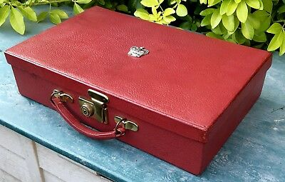 Vintage Red leather bound writing Case/Box With Royal Crown Crest.