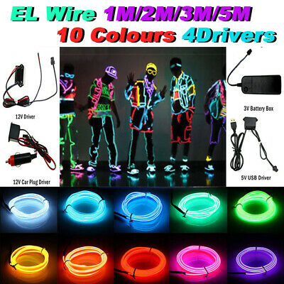 5/1M Neon Battery Operated Luminescent LED Lights Glow EL Wire String Strip Rope