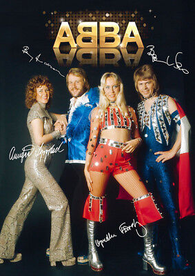 Abba Autographed Signed Large Poster Print Laminated. Look Great Framed
