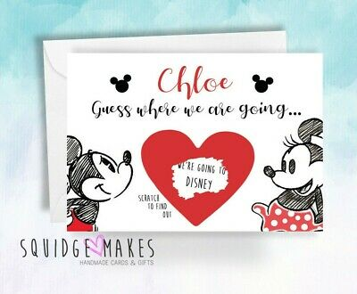 Surprise we are going to Disney Scratchcard reveal Personalised micky minnie