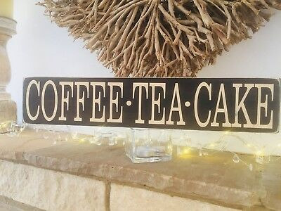 Coffee Tea Cake Sign Wooden Cafe Pub Vintage Style Shop Window Shabby Old