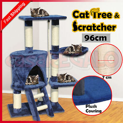Cat Scratching Tree Post Sisal Pole Condo Toy Furniture Multi level 96cm