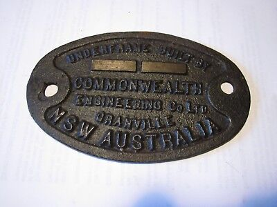 """Cast Iron Builders Plate – """"Underframe built by Commonwealth Engineering NSW"""""""