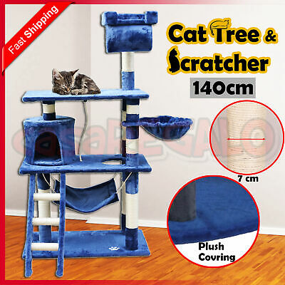 Cat Scratching Tree Post Sisal Pole Condo Toy Furniture Multi level 140cm