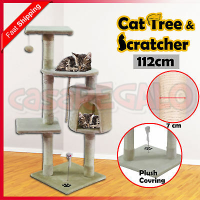 Cat Scratching Tree Post Sisal Pole Condo Toy Furniture Multi level 112cm