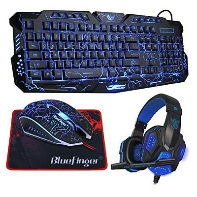 3182f243b9d BlueFinger LED Backlit Glowing Keyboard Programmable Gaming Mouse Mouse Pad