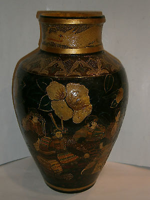 UNIQUE ANTIQUE JAPAN VASE 1850-1880 CERAMIC POTTERY HAND PAINTING DRAGON Satsuma