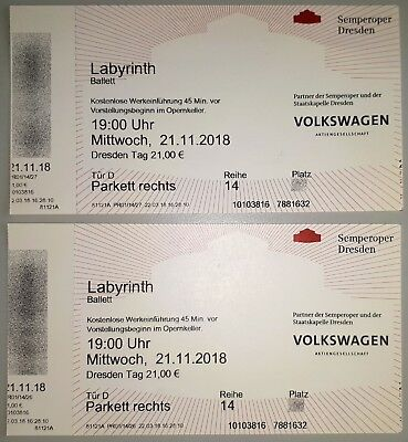 "2 Karten Semperoper Dresden für Ballett ""Labyrinth"" 21. November 19 Uhr Parkett"