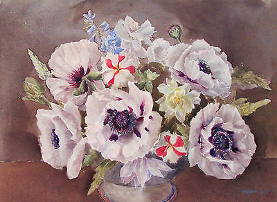 Marion Broom - Fine Bouquet - Listed Artist Watercolor - C. 1920 - No Reserve