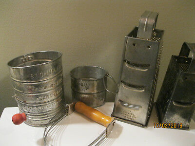 Vintage Metal Cheese Graters & sifters Rustic Primitive Kitchen Decor-Bromwell's