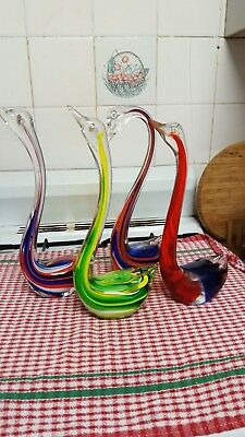 MULTI COLOURED SOLID GLASS SWANS x 4