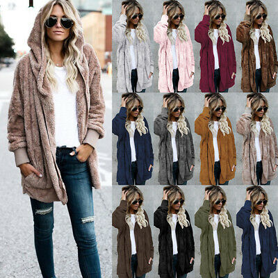 Plus Size Women Warm Pocket Cardigan Jacket Winter Fluffy Fleece Fur Jumper Coat