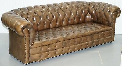 Very Rare Vintage Hand Dyed Cigar Heritage Brown Leather Chesterfield Club Sofa