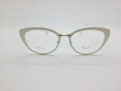 40babbe5519 New Authentic Ray Ban RB 7088 5618 Shiny White 54mm LightRay RX Eyeglasses