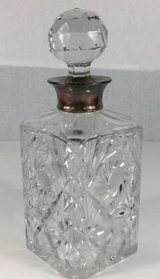 Roberts & Dore Ltd 1968 Solid Silver Mounted Glass Decanter 25cm In Height