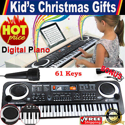 Kid's 61 Keys Electric Keyboard Digital Music Piano Instrument & Microphone Gift