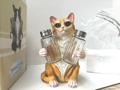 Orange Tabby Kitty Cat Salt & Pepper Shaker Holder, Season of the Cat, DWK Corp.