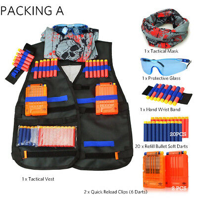 Tactical Vest Kit Adjustable for Nerf N-strike Elite Series Toy Dart Refill Set